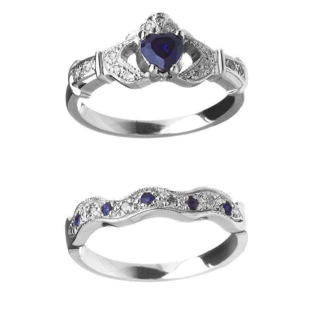 Wedding Ring Sets.14k Sapphire Diamond Claddagh Engagement Wedding Ring Set